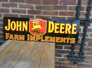 Vintage JOHN  DEERE FARM IMPLEMENTS tin sign !