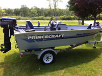 1995 princecraft pro series 142 30 hp and trailer