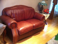 genuine leather love seat