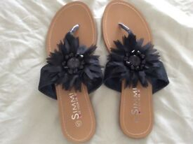 Ladies black sandals size 5 New