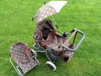 Mamas & Papas Doll Pram, parasol, changing bag & rocking seat