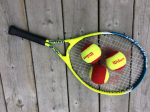 Wilson Junior tennis racquet and beginner balls