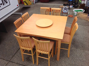 Dinning Set, 8 Chairs, Lazy Suesen and Leaf