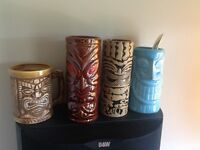 Numerous tiki mugs from new to old. Selling as a set