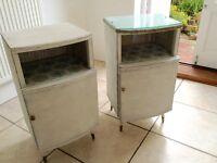Lloyd Loom wicker bedside cabinets
