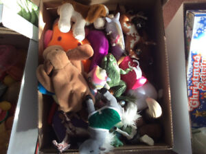 Boxes of various toys