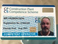 Wanted free use operating 360 digger for cpcs card plant operator no work or job