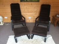 2 Armchairs and Footstools