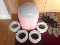 Tommee Tippee PINK nappy bin with 4 replacement nappy bags