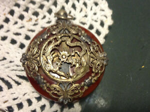 Old Agate Armoured Noble Dragon Phoenix & Butterfly Rare Lucky P