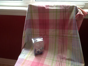 Fabric shower curtain and hooks- reduced price!