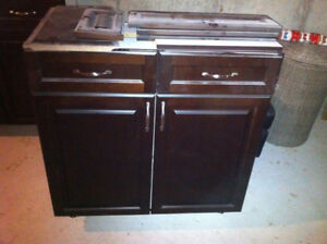 Kitchen Island with Granite Counter Top and Sink (disassembled)