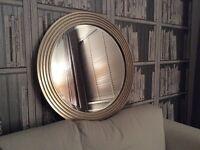 LAURA ASHLEY chrome/pewter/silver wall round mirror