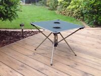 Fold away light weight material Camping table with two drinks holders