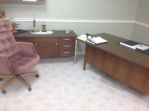 Solid Wood Desk with chair and Credenza
