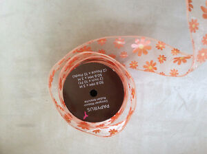 Papyrus orange sheer ribbons with flowers imprints