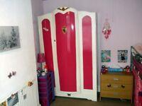 Large Triple Size Wardrobe white/pink Wooden w/ double doors