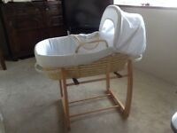 Beech rocking cradle for moses basket by Mamas and Papas! Excellent Condition - hardly used!