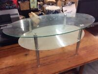 Glass Two Tier Oval Coffee Table