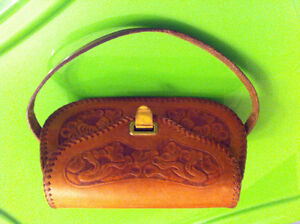 60s vintage hand tooled leather small purse