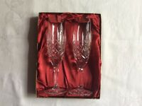 Two Edinburgh Crystal Champagne Flutes