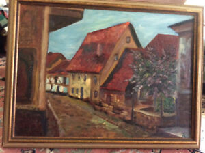 "Vintage ""German village"" oil painting"