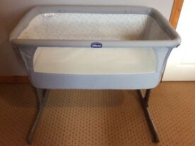 Chicco Next to Me Cot Circles/Cloud Pattern Silver Grey Colour