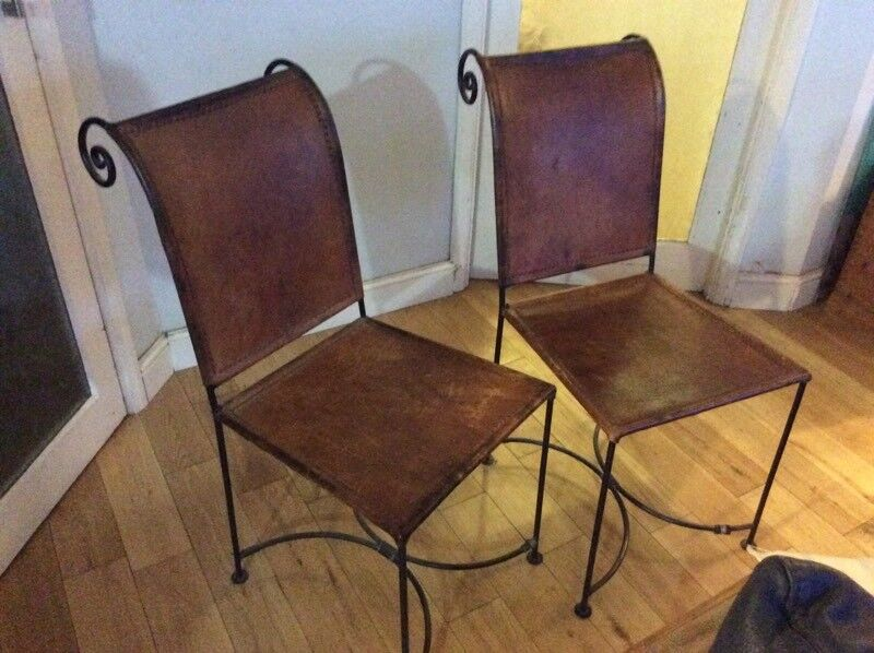 Surprising Pair Of Unusual Leather And Metal Dining Chairs In Ilfracombe Devon Gumtree Machost Co Dining Chair Design Ideas Machostcouk
