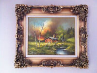 Antique Frame, Original Oil Fire-sky Painting