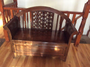 Beautiful wood bench with storage