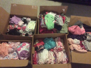 Big lot of babygirl clothing and fisher price rocker