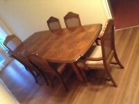 LARGE WOODEN DINING TABLE AND SIX CHAIRS 2100x105cm