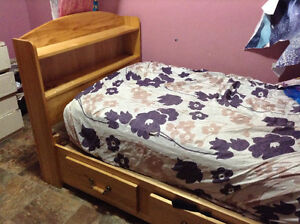 Real wood with storage bed twin