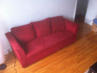 Red Suede Couch - Great Condition!