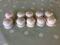 10 x Ceramic Cupboard Handles