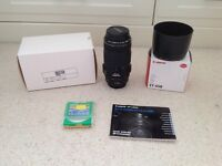 Canon EF 70-300 mm f4-5.6 IS USM lens with accessories