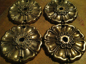 "set of 4 Gorgeous 3"" Floral solid Brass Backplates"
