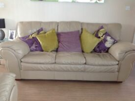 Two and three seater soft leather sofas as new,reduced price for quick sale