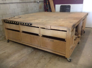 Solid Work Benches with Storage, Drawers and on Casters