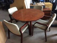 Rose wood meeting room table and 4 chairs
