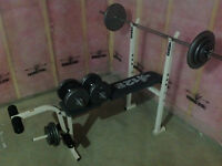 Weider weight bench with weights