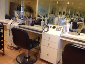 4 STYLING STATIONS, 1 STYLING CHAIR, 1 SHAMPOO CHAIR, 1 SINK
