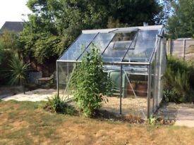 Aluminium GREENHOUSE. 2.5 m by 2.5 m complete with glass and auto opener