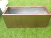 Zinc galvanised copper coloured large trough planter
