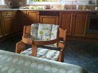 Baby Dan Child's High Chair in natural wood complete with cushions and harness