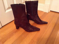 NINE WEST BOOTS - CHOCOLATE BROWN LEATHER