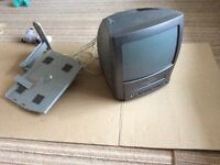 Compact colour TV with wall bracket