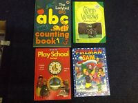 Annuals fireman Sam 89, wind in willows87, ladybird ABC counting book ?, play school 71.