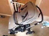 Bugaboo Buffalo dark khaki with winter foot muff & buggy board
