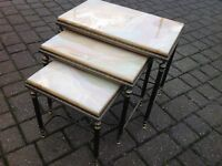 Solid Brass Marble Top Nest Of Tables